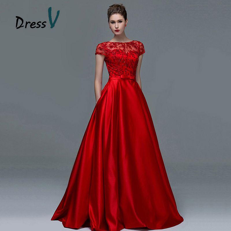 2c1c0113f Dressv rojo elegante de encaje de manga corta vestidos de noche 2017 sexy  una línea de barco cuello keyhole largo mujeres formal vestido de noche  vestidos ...