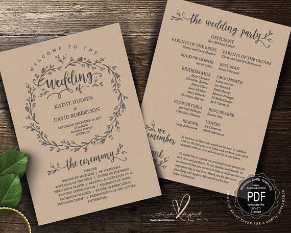 Rustic Wedding Program PDF Card Template Instant Download