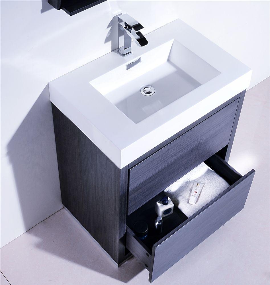 Bliss 30 Gray Oak Floor Mount Modern Bathroom Vanity Powder