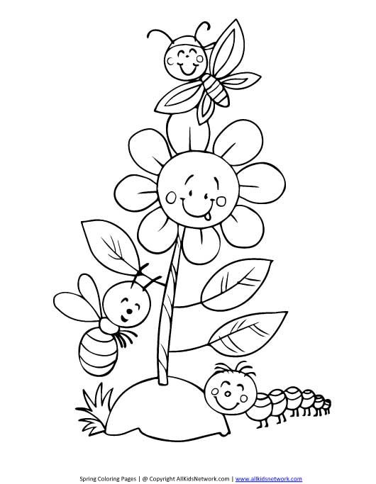 Spring Flower Coloring Page Bug Coloring Pages Flower Coloring Pages Spring Coloring Pages