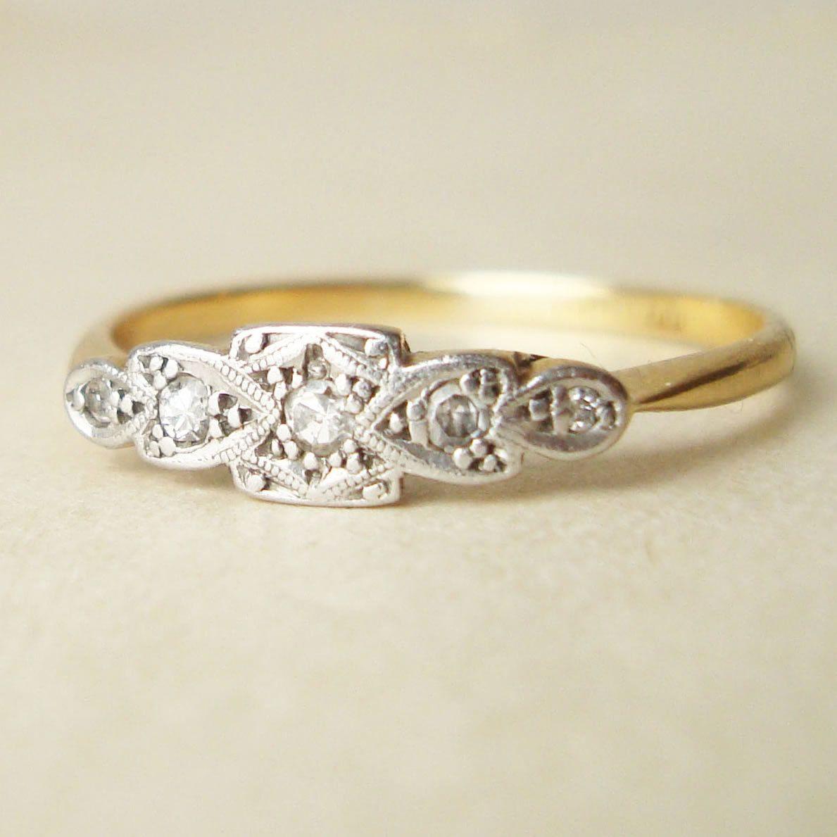 Art Deco 18k Gold Diamond Ring, Antique Diamond Platinum & 18k Gold Engagement Wedding Ring Approximate Size US 8.25