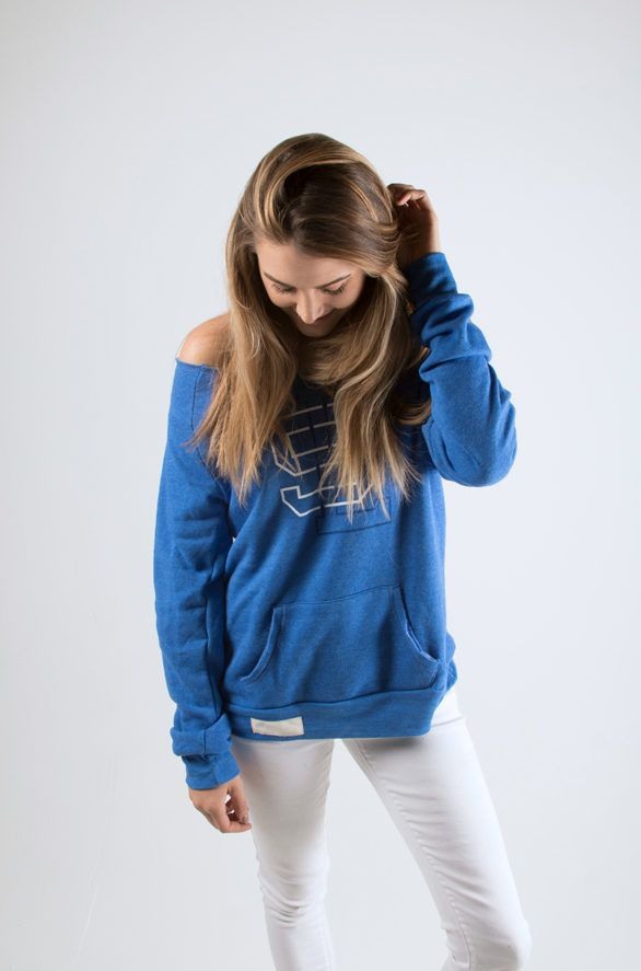VARSITY WIDE NECK SWEATSHIRT $45.00  Show your SLU pride with our new varsity line.  Printed on Alternative Apparel, raw-edge, off-the-shoulder neckline sweatshirt.