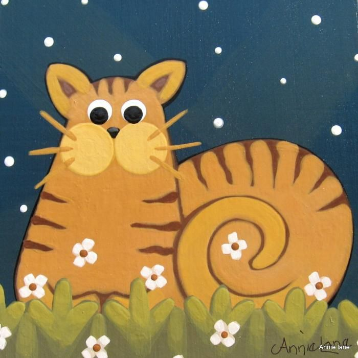 """"""" OUT AFTER DARK """" Annie Lane Whimsical Cat Painting  www.yessy.com/annielane"""