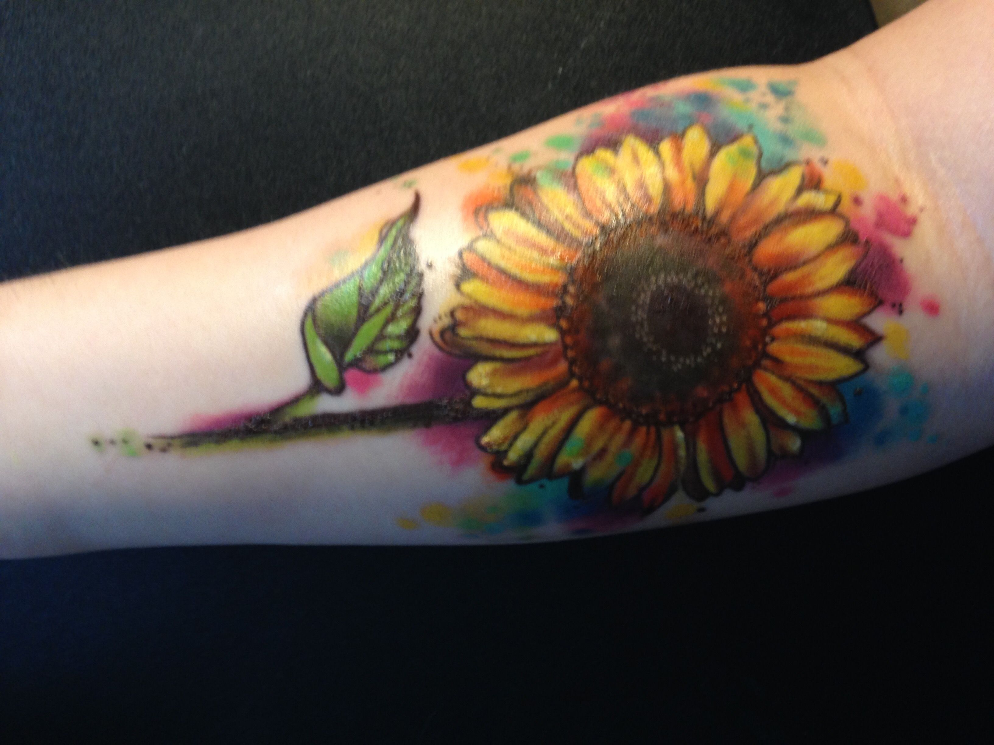 Watercolor Sunflower Tattoo Sunflower Tattoo