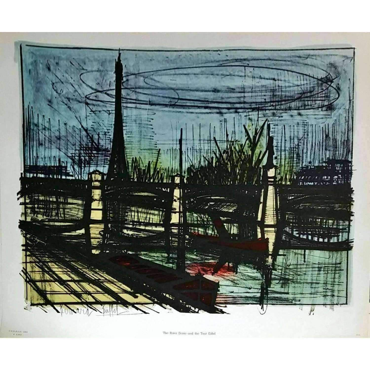 04f4d3a1286 Bernard Buffet The River Seine And The Tour Eiffel 1964 Original Lithograph