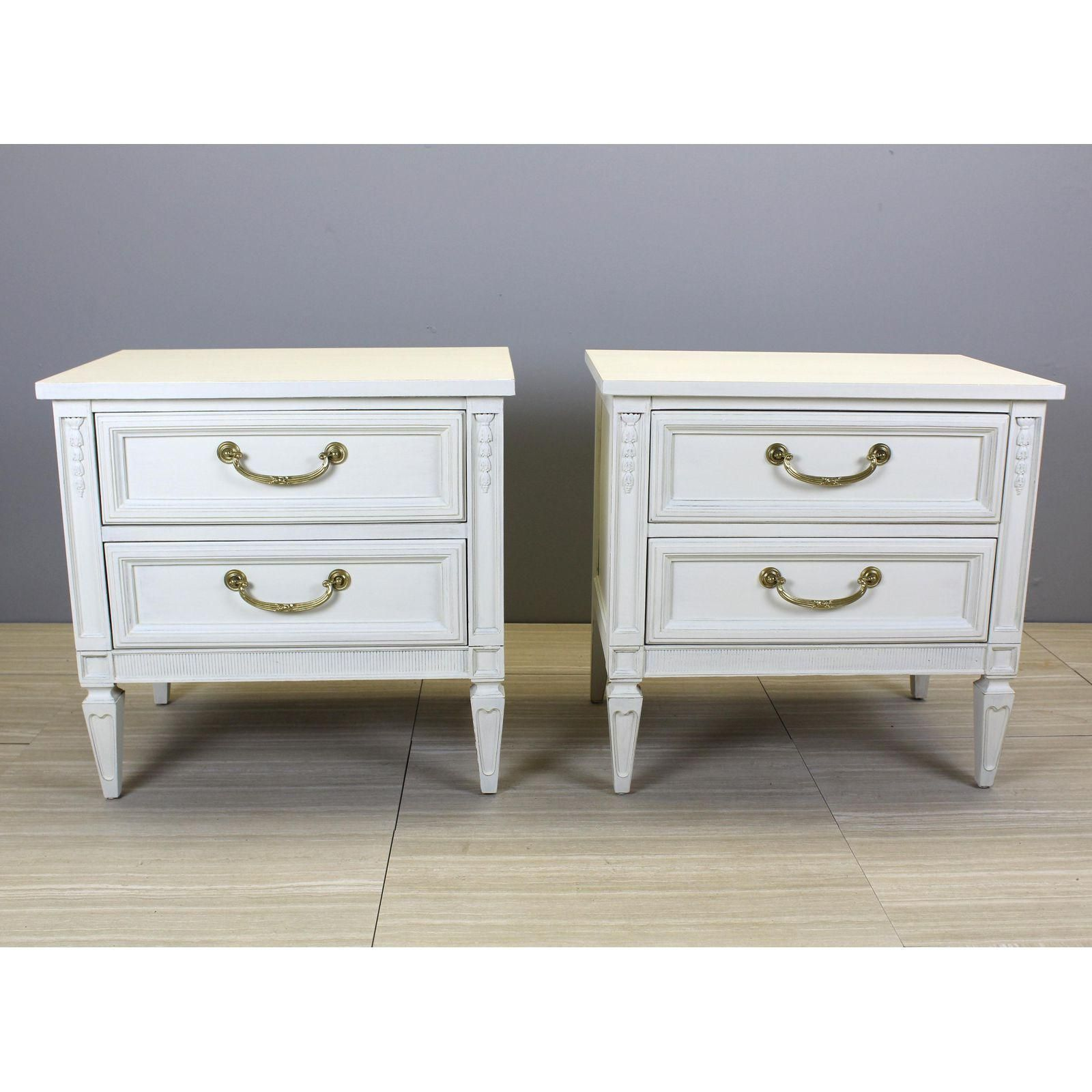 Pair Of Mid Century Neoclassical Style Nightstands White