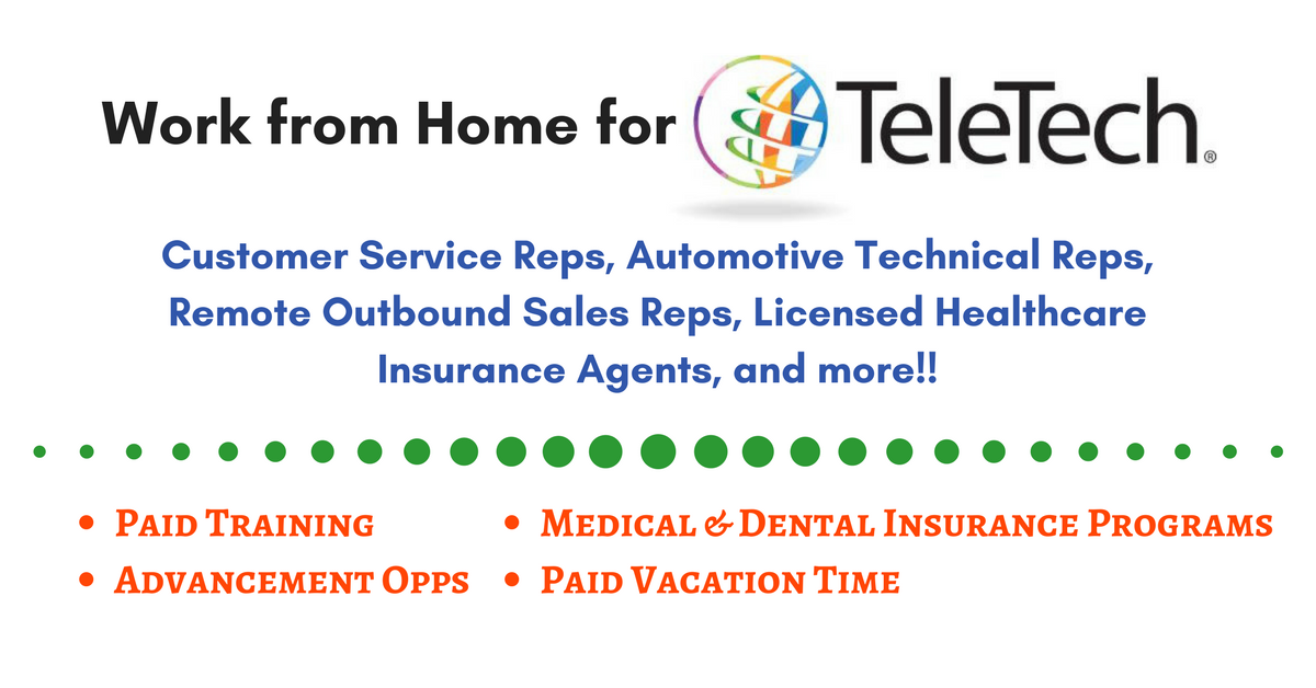 Teletech Has A Variety Of Work From Home Jobs Available Now