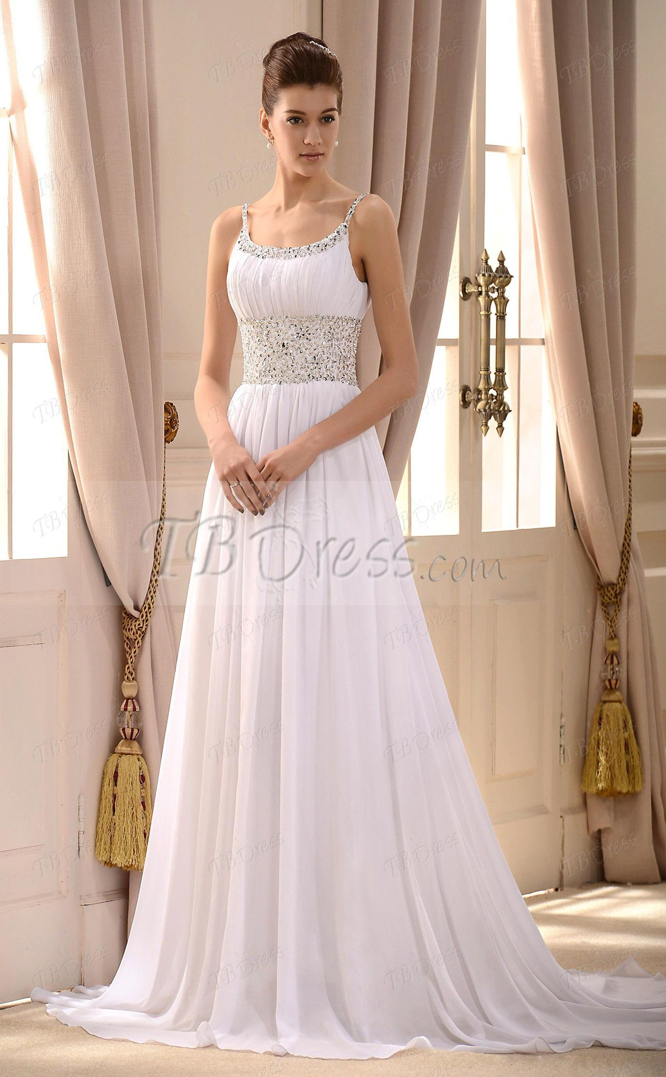 Empire spaghetti straps sleeveless court train wedding dress