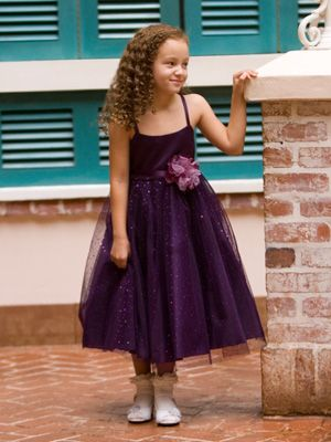Or in a totally different direction...? Metalic Tulle Flower Girl Dress