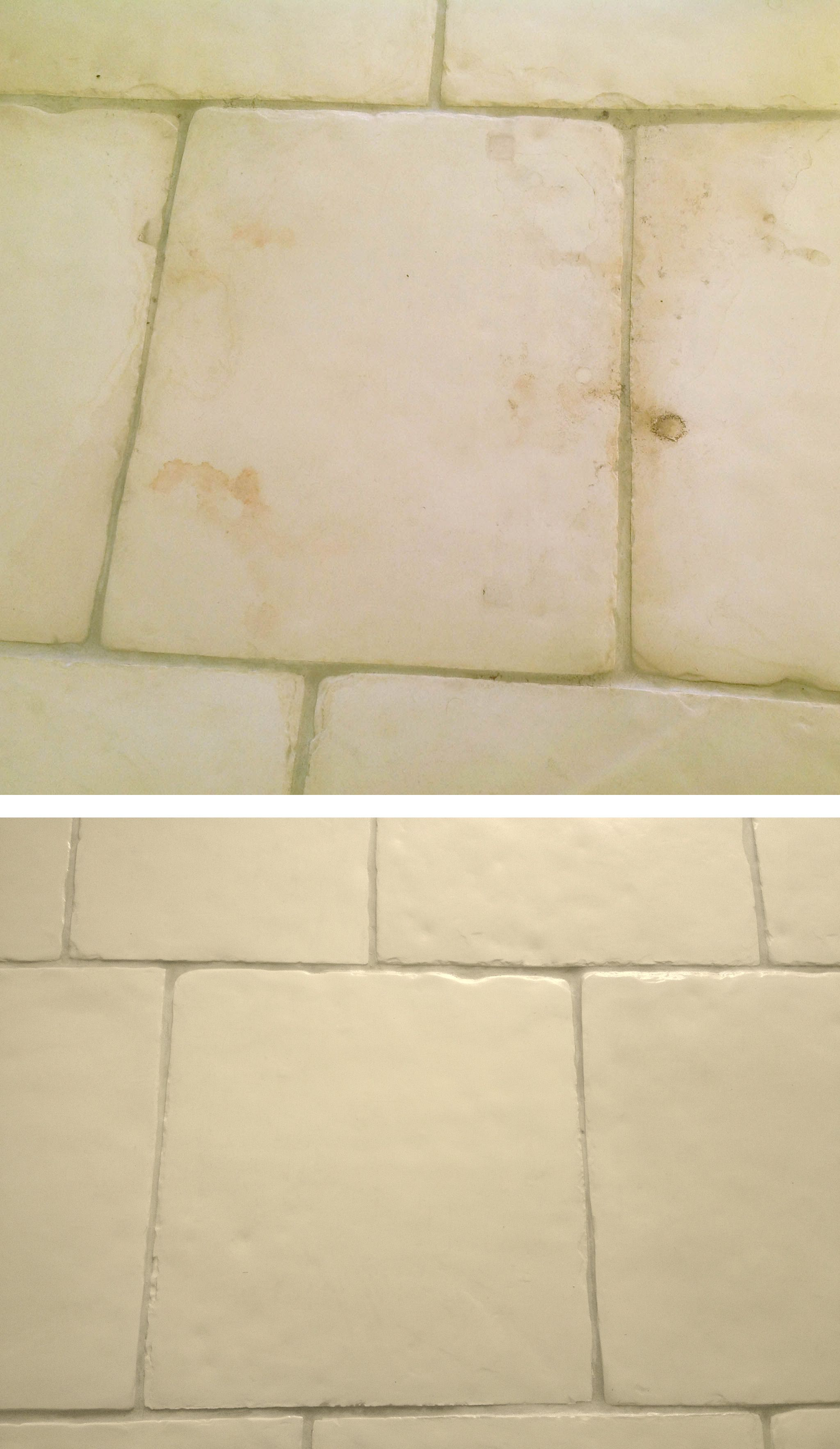 Stone floor tiles damaged by water and rust repaired by plastic