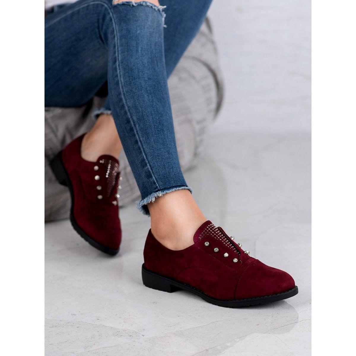Nio Nio Wsuwane Polbuty Czerwone Womens Oxfords Oxford Shoes Shoes