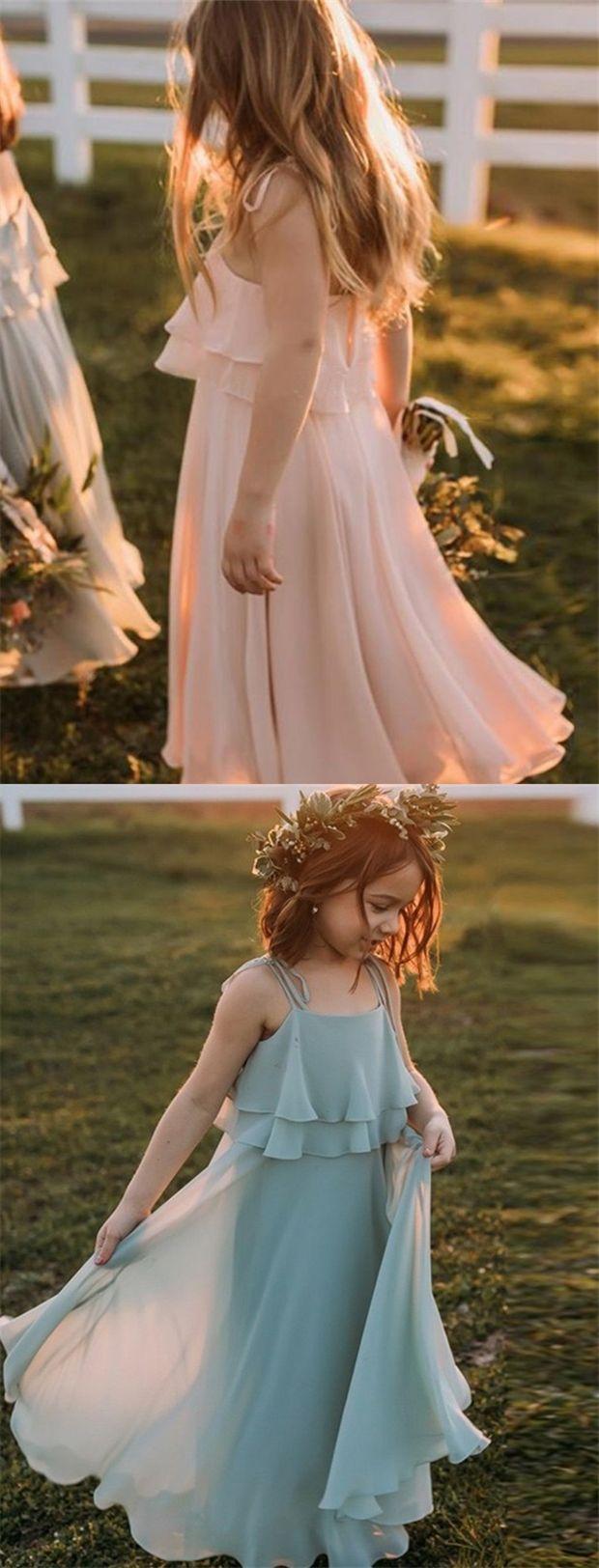 Country girl wedding dress  ALine Spaghetti Straps Sage Chiffon Flower Girl Drss with Ruffles