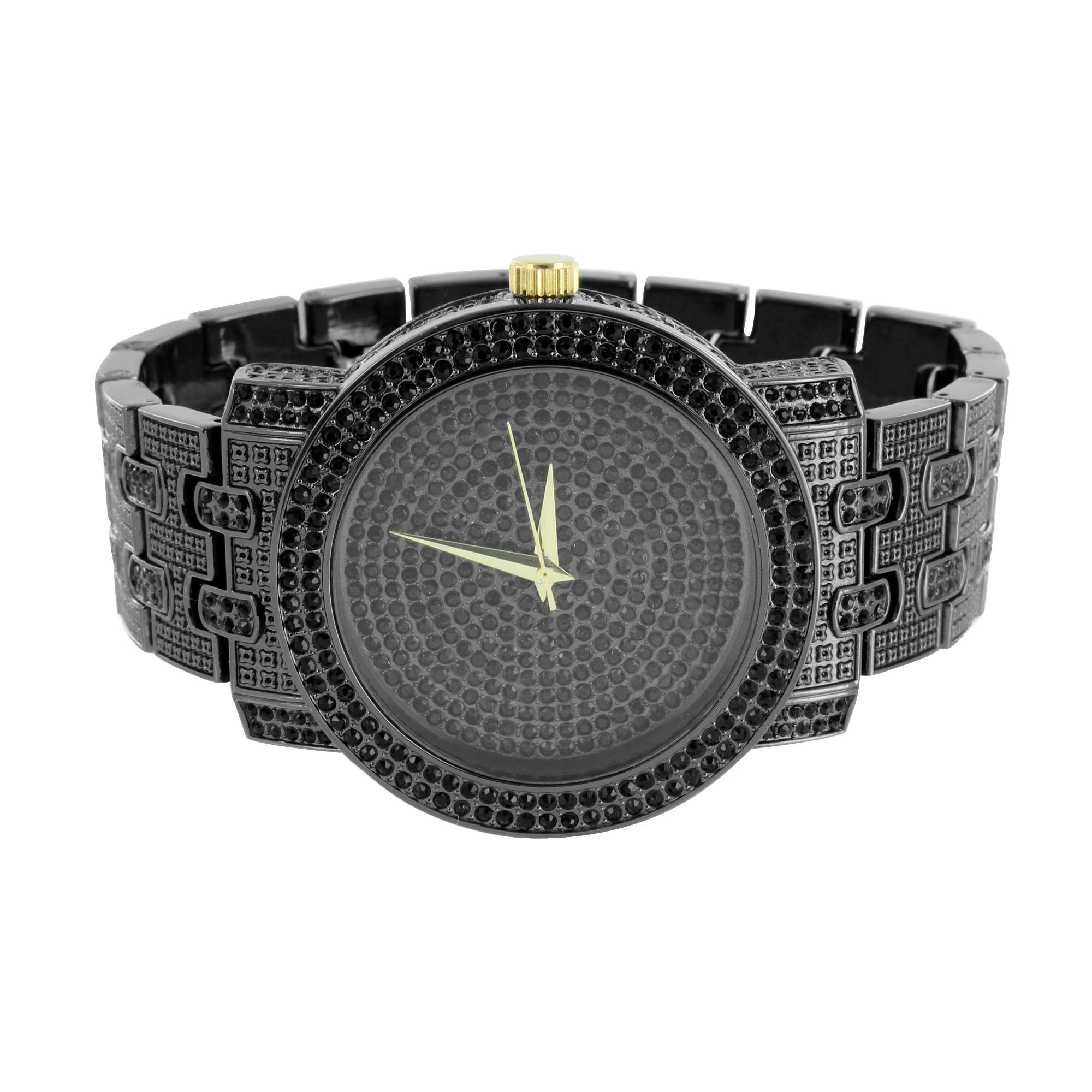 23d1bde9aff2 Black Finish Mens Watch Fully Iced Out Hip Hop Bling