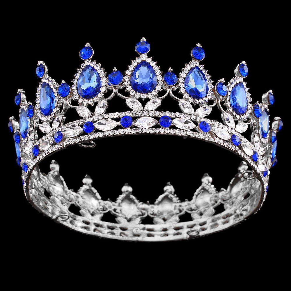 Crowns full circle round tiaras rhinestones crystal wedding bridal - 2 High Royal Blue Crystal Tiaras Headpiece Sapphire Rhinestone Crown Pageant