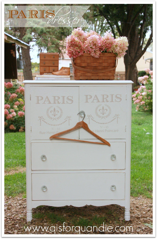 Dresser With Paris Stencil Chalk Latex Enamel Painted  # Muebles Dayka Trade
