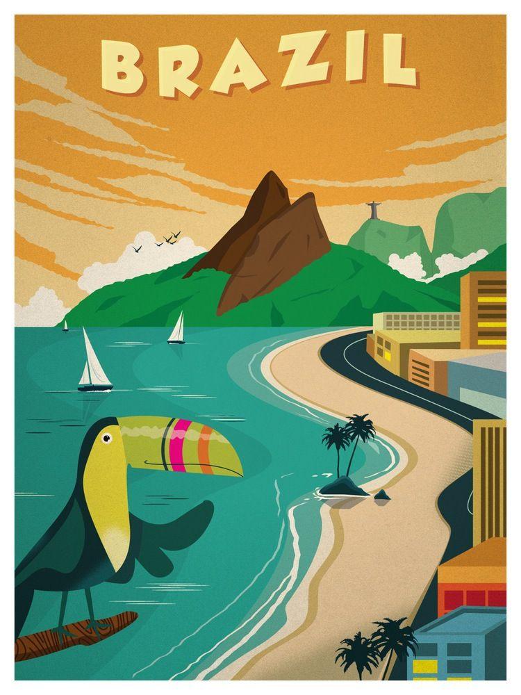 Vintage Brazil Poster Vintage travel posters, Retro