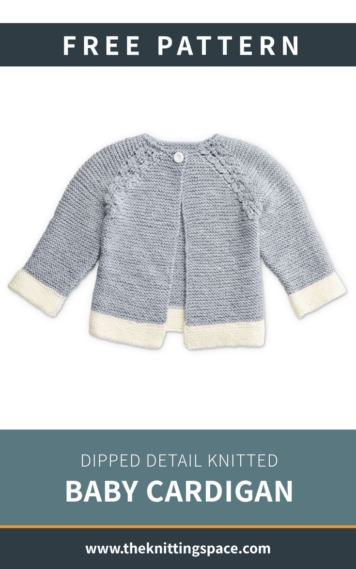 Dipped Detail Knitted Baby Cardi [FREE Knitting Pattern]