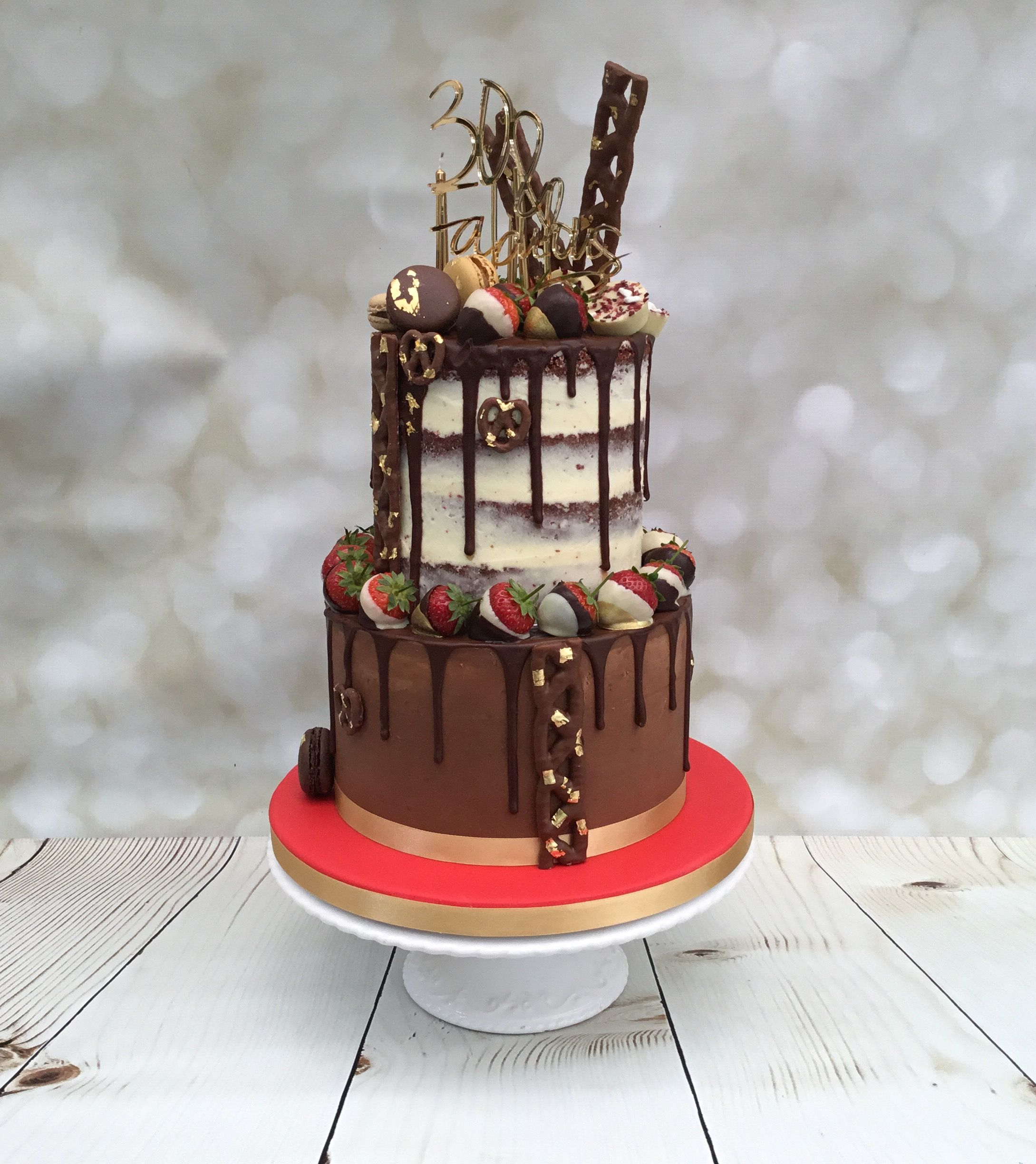 '30 & Fabulous!' Two Tier 'Naked' Chocolate Birthday Cake