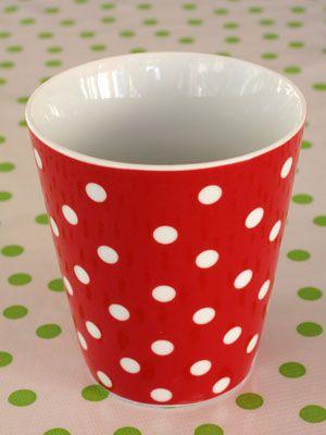 Kaffemugg - Falby - Röd med prickar 145 från Broarne.se
