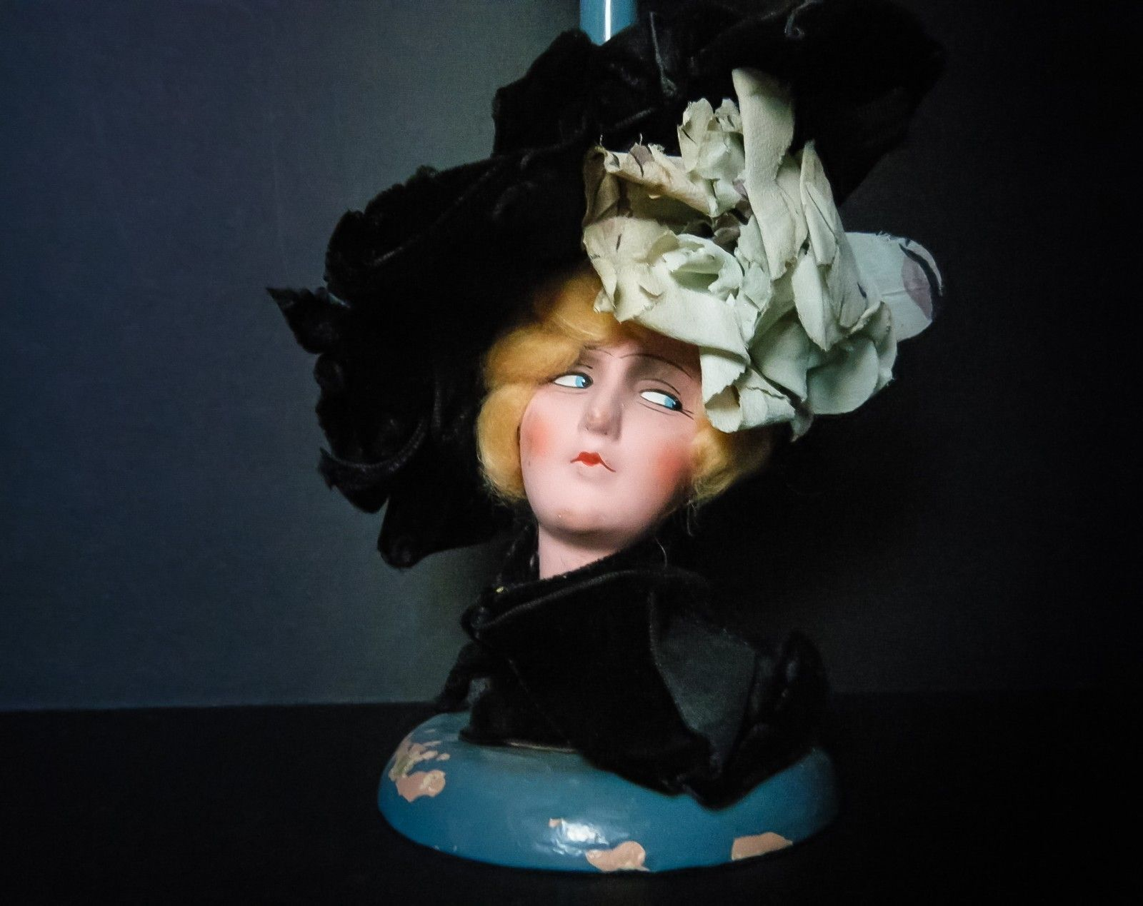 German Art Deco Boudoir Lady Doll Hat Stand with Black Velvet Picture Hat