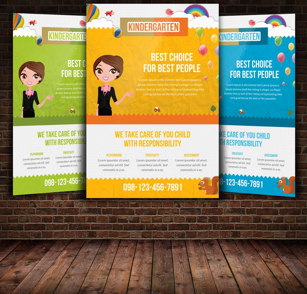 Kindergarten Flyer Template By Leza On Creative Market  Things To