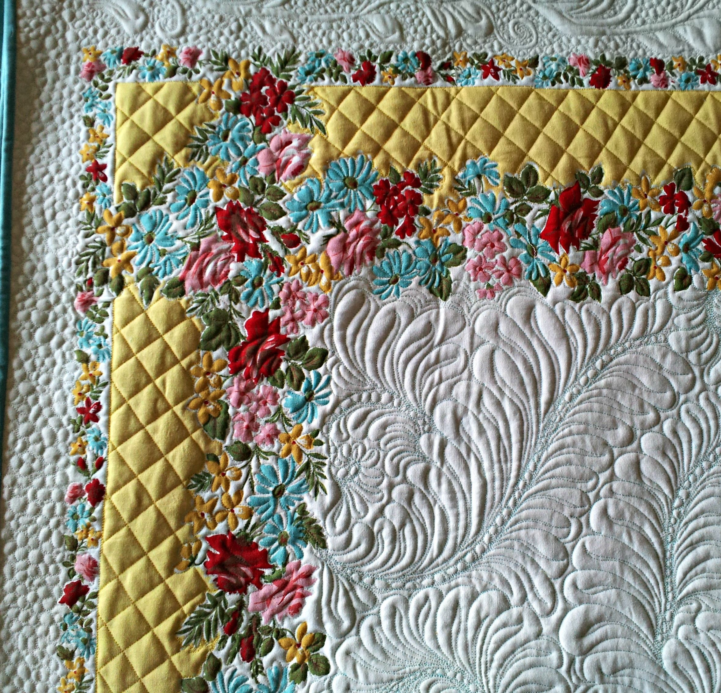 Great way to repurpose vintage tablecloths! I free motioned quilted ...