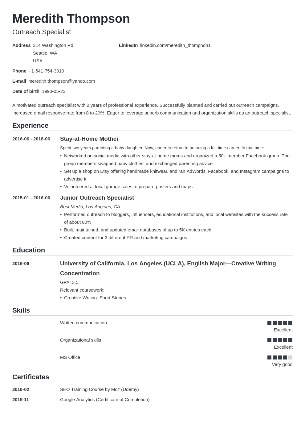 stay at home mom resume example template nanica in 2020