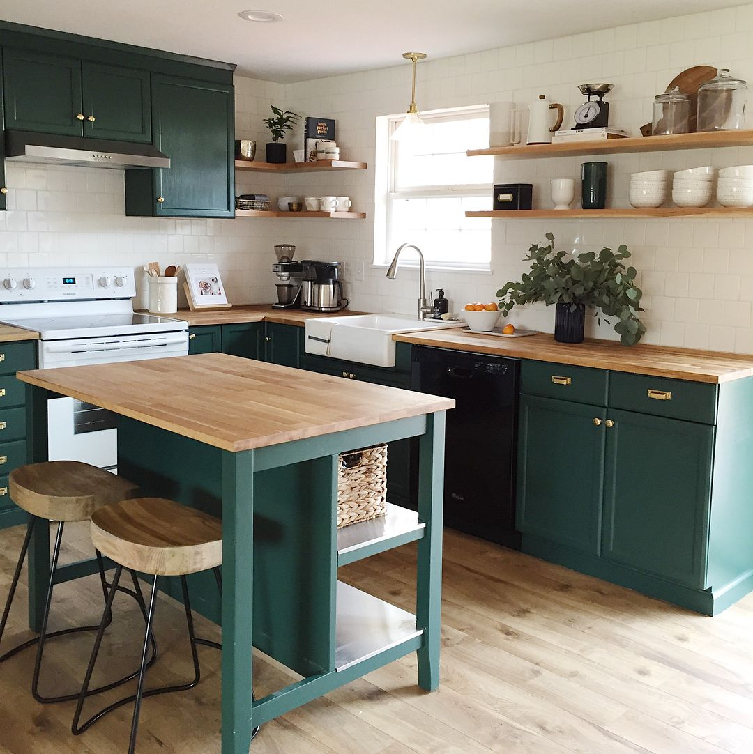 Benjamin Moore Forest Green Green Painted Kitchen Cabinets