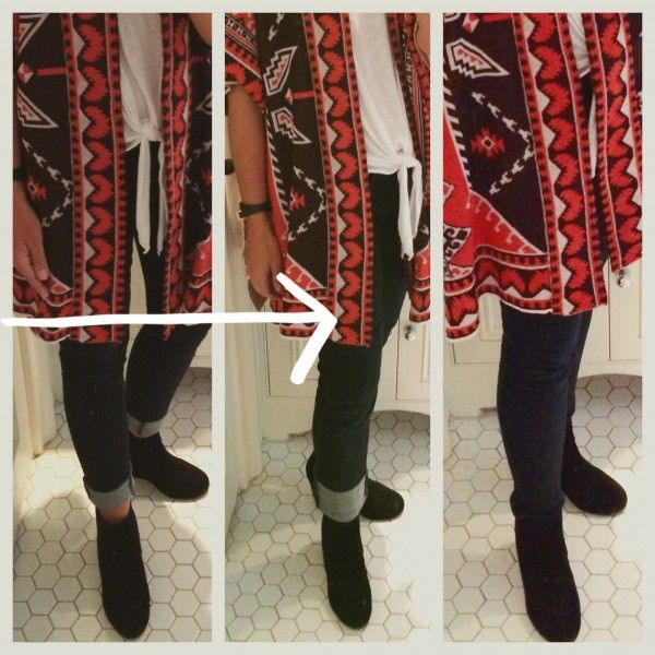 From left to right: same outfit different jean. 1) Skinny jean cuffed. Looks OK but my legs feel pretty compressed and I would not be able to take off my sweater. 2) Straight leg jean with wide cuff. I like the look and comfort level! 3) Skinny jean bunching around my bootie and ankle, not as clean of a look.