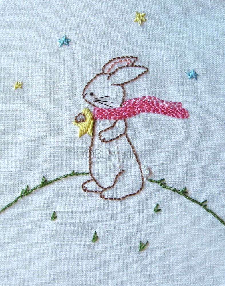 Hand embroidery pdf pattern reach for the stars bunny by bumpkin