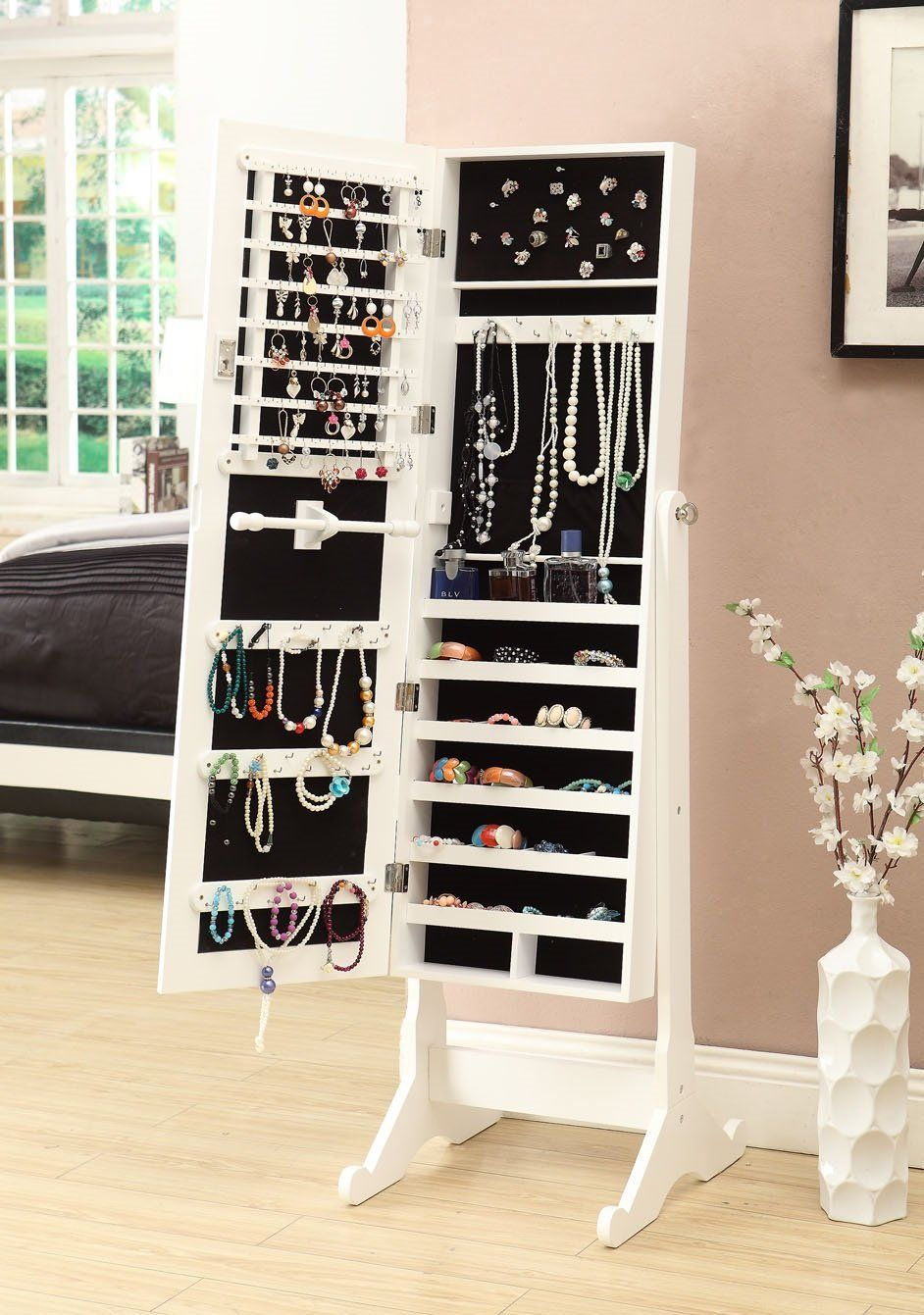 Amazon.com   White Mirrored Jewelry Cabinet Armoire W Stand Mirror Rings,  Necklaces,