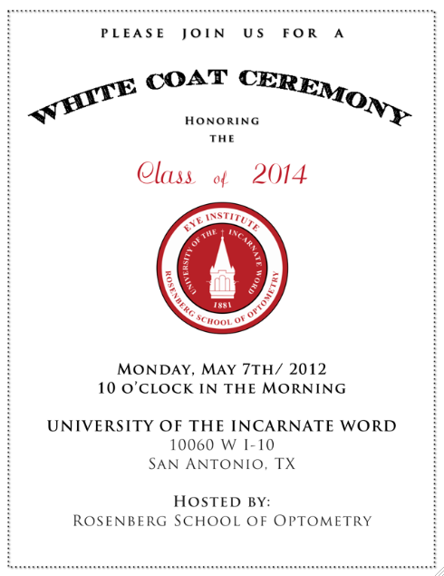Invitations. UIW - White Coat Ceremony | Graphic Design ...