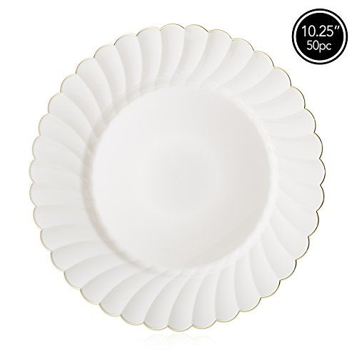 Plastic Wedding Plates.Elite Selection Pack Of 50 Dinner Plates Ivory Cream Color With Gold