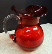 Vintage Ruby Red Hand Blown Art Glass Pitcher