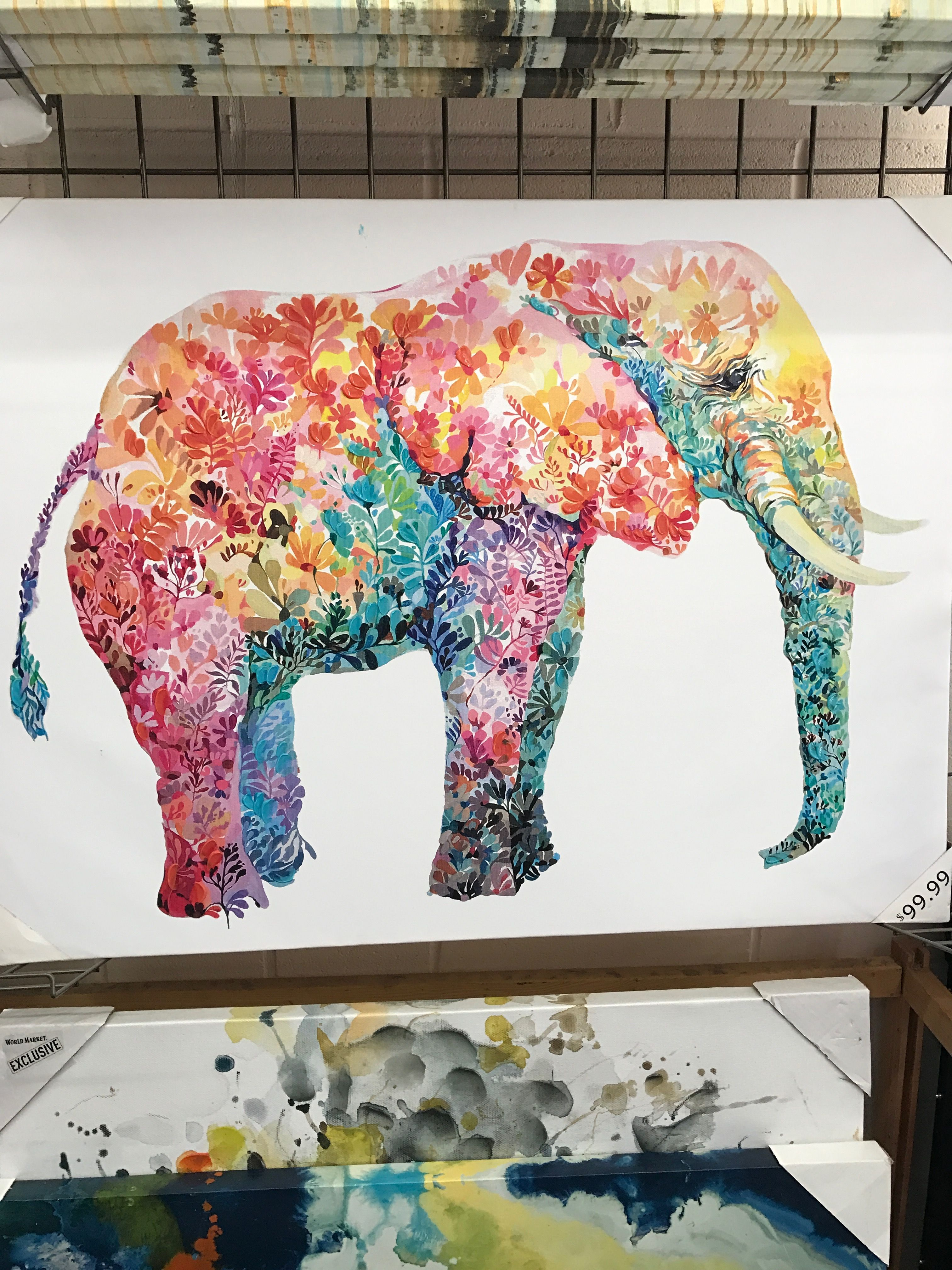 World Market Large Canvas Wall Art Elephant Canvas Animal Wall Art