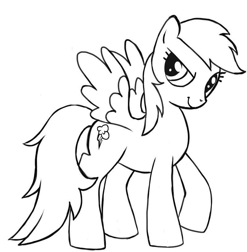rainbow dash my little pony coloring page - Rainbow Picture To Colour