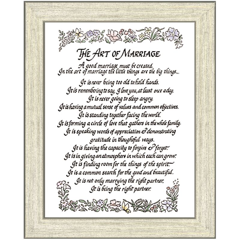 The Art Of Marriage Poem Framed Gift 5 X 7