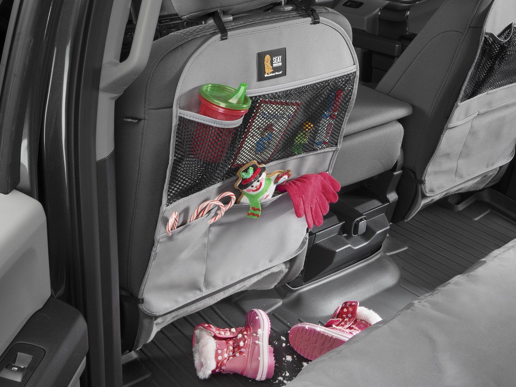 Kick Mat and Organizer for The Back of Your Seat Grey WeatherTech Seat Back Protector