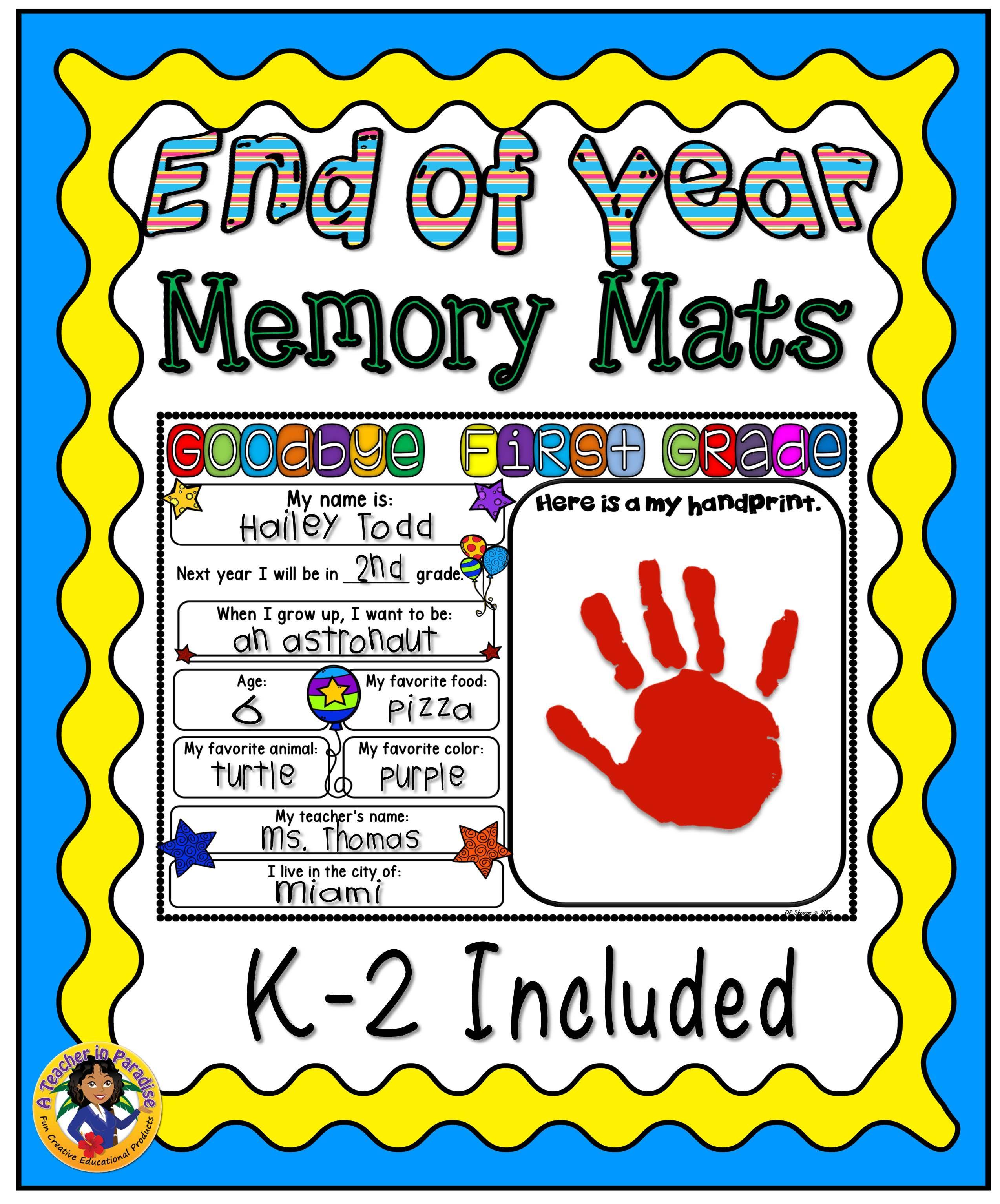 End Of Year Memory Mats K 2