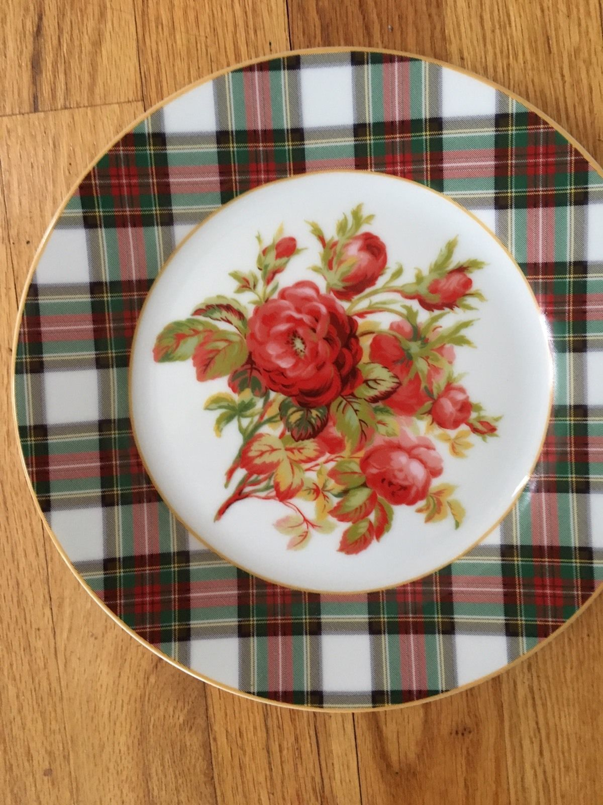 4 Ralph Lauren Tartan  Christmas Plaid Luncheon Plates Skyler Floral  Rose 9"