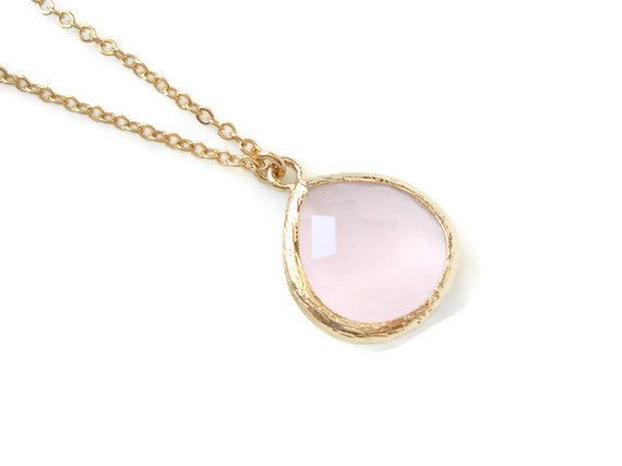 Pink Opal Pendant Necklace - Pink and gold bezel setting Wedding Jewellery. #Jewlry #Etsy #Necklace