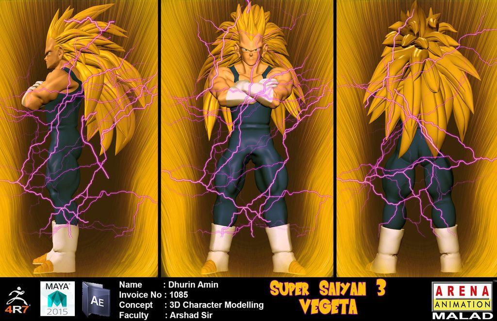 3d character model super saiyan 3 vegeta by dhurin deviantart com on