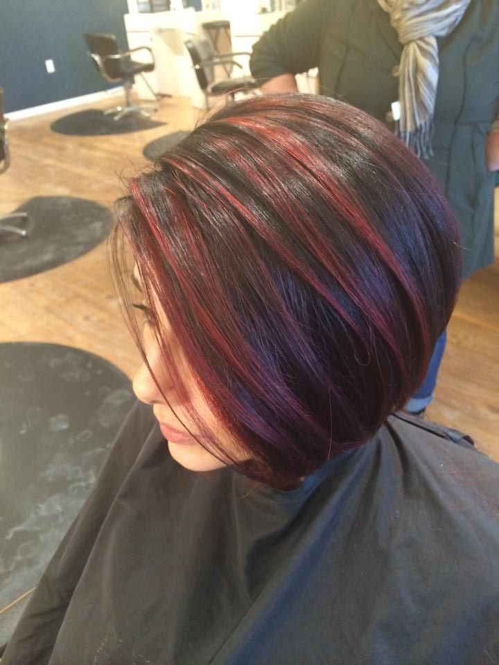 Red Highlights Balayage Color Melt Red Highlights On Dark Hair Short Red Hair Hair Styles Dark Hair With Highlights