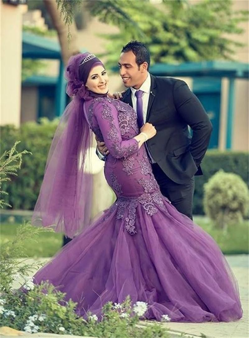 Fashion custom made long sleeve muslim with hijab wedding dresses