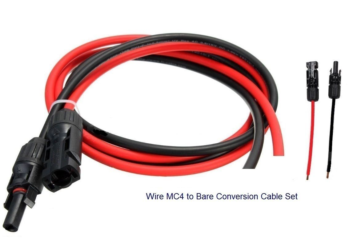 Connectors And Ties 41982 1 9 0 Ft Extension Bare Cable Wire Mc4 M And Fconnectors 10awg Buy It Now On Cable Wire Wire Connectors Black And Red