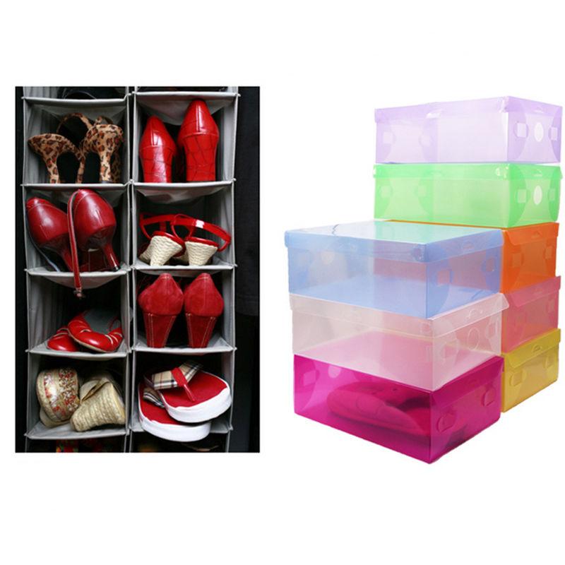 20 Pcs Foldable Clear Plastic Storage Shoe Boxes Organizer Stackable Box Home