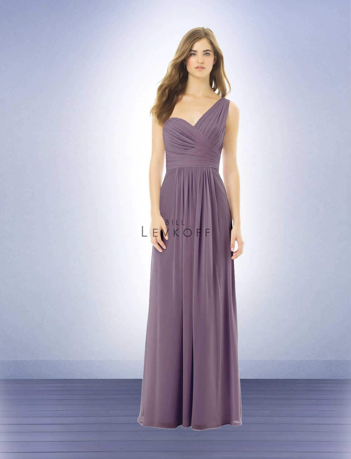 Bill levkoff 492 chiffon gown with one wide shoulder strap bridesmaid dress style 492 bridesmaid dresses by bill levkoff store sample in victorian lilac size chiffon gown with one wide shoulder strap ombrellifo Gallery
