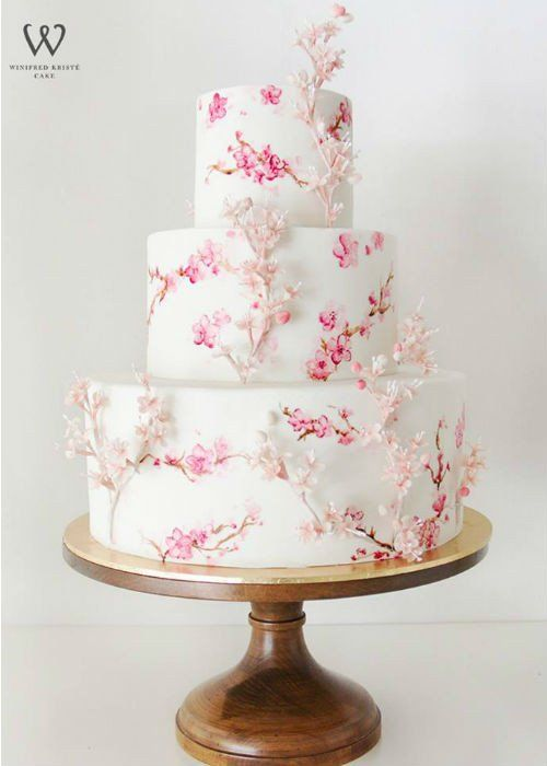 Floral Cake on 16 inch Wood Cake Stand | Pinterest | Floral cake ...