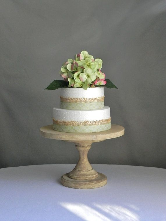Cake Stand 12 Round Rustic Wooden Pedestal Vintage Beach Decor Wedding By E Isabella