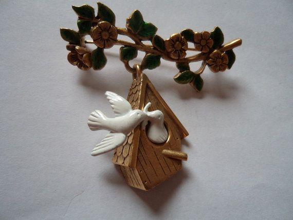 Vintage Signed Danecraft Gold pewter  White Doves Birdhouse Dangler Brooch/Pin